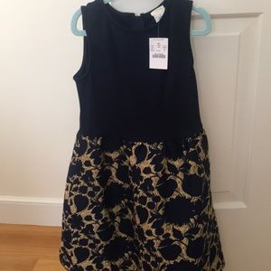 Crewcuts NWT Navy and gold brocade dress